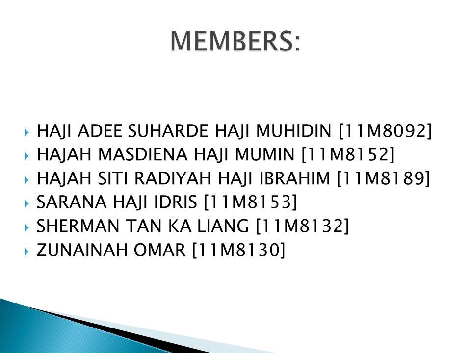 MEMBERS: HAJI ADEE SUHARDE HAJI MUHIDIN [11M8092]